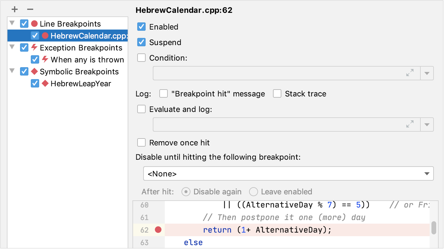 View Breakpoints dialog