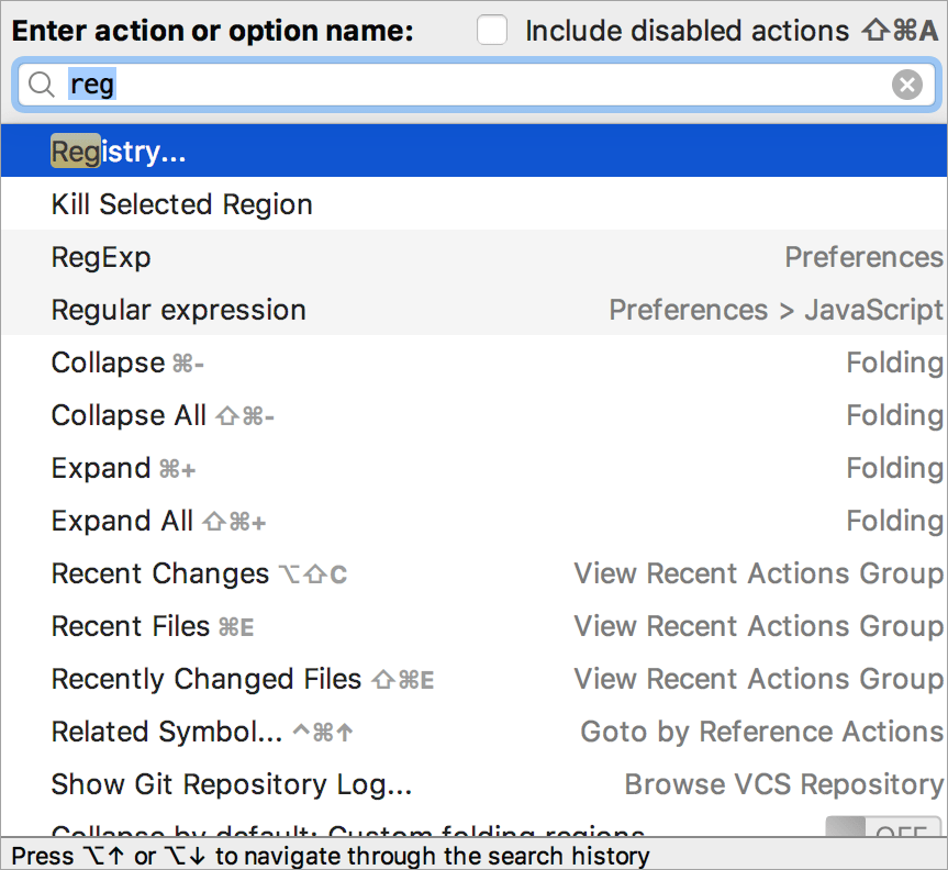 search for Registry via Find Action