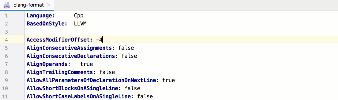 code completion in clang-format config files