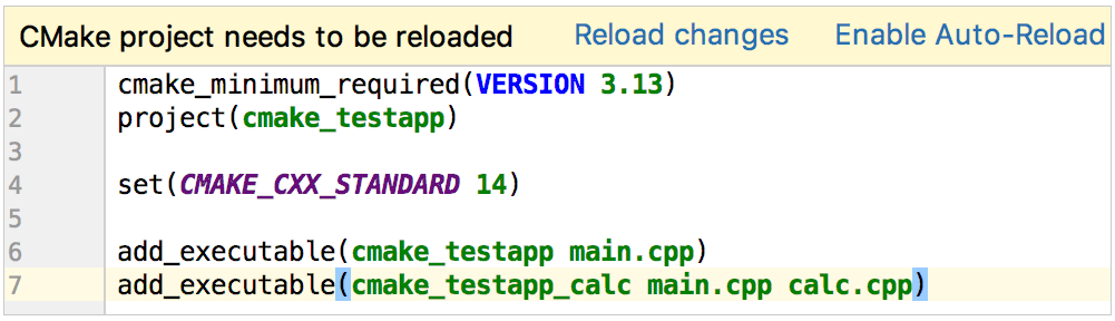 reload cmake project after adding a new target