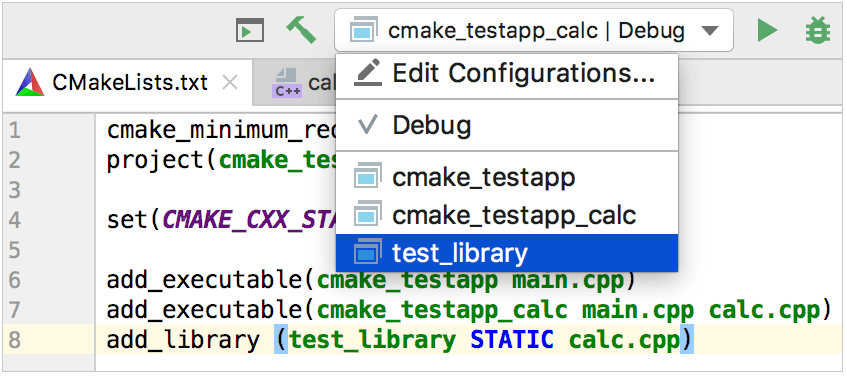 configuration for the newly added library target