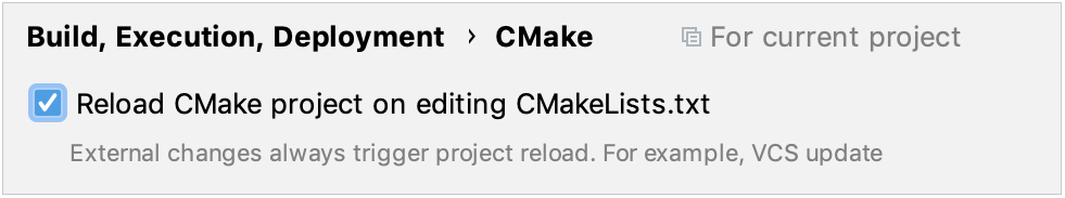 Enabling auto-reload in CMake settings