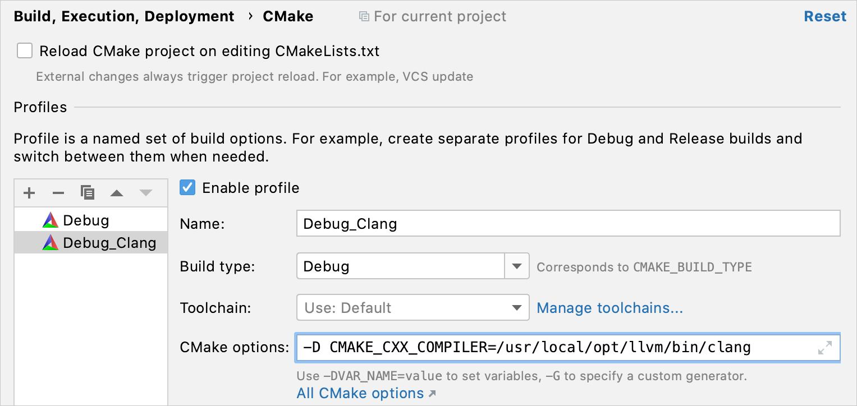 Set the compiler via CMake settings