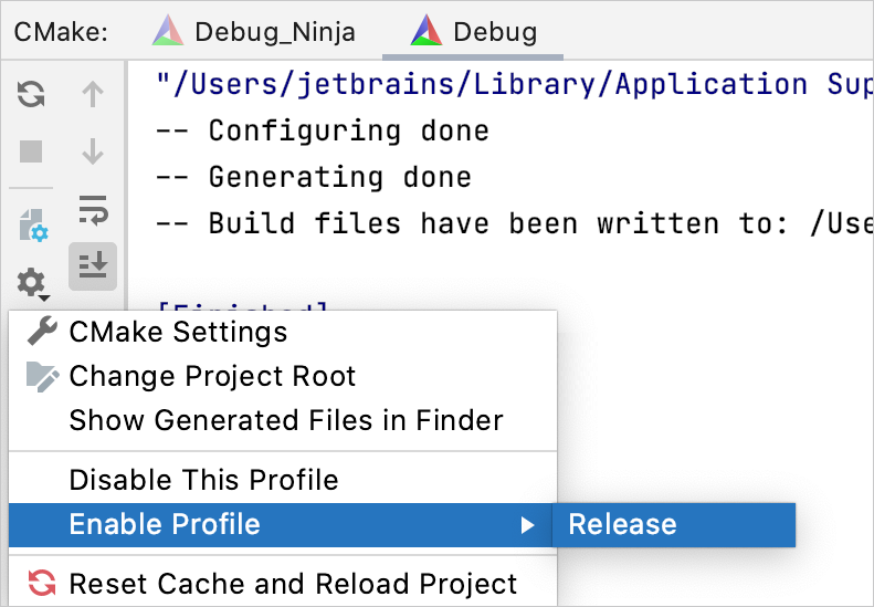 Enabling a previously disabled profile from the CMake tool window