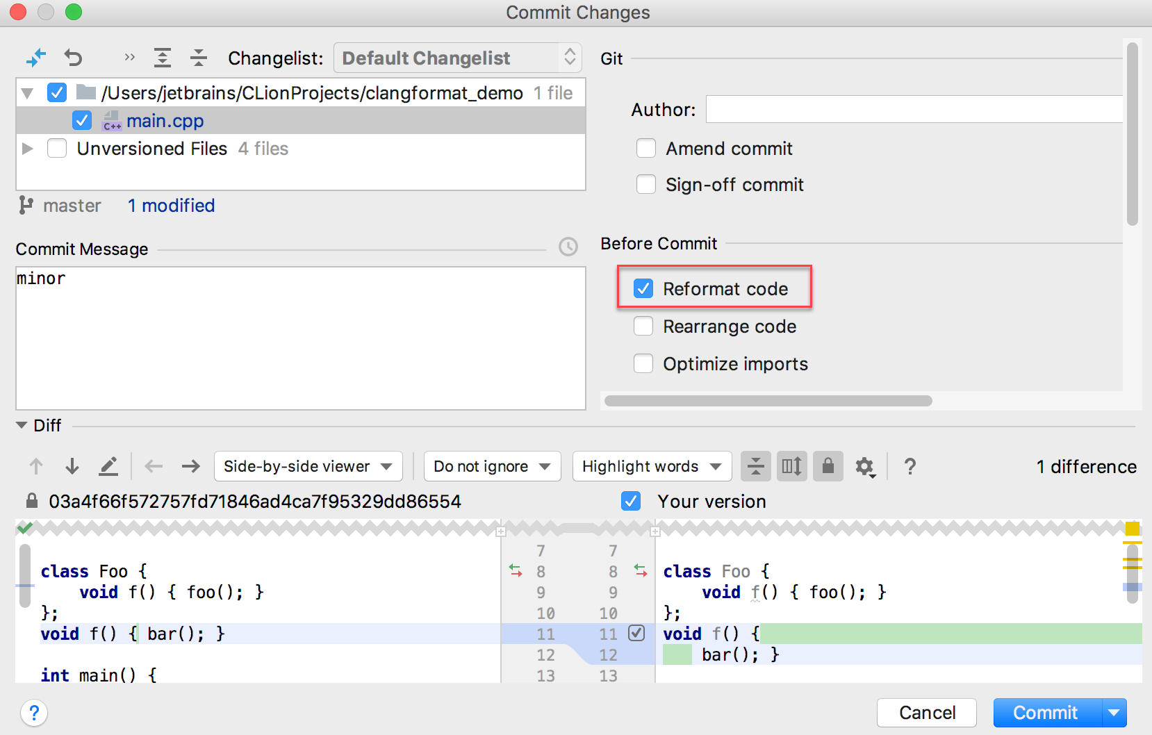reformat code before commit