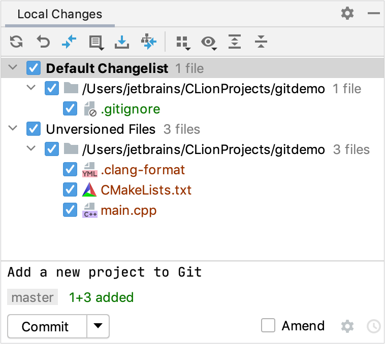 The Commit tool window