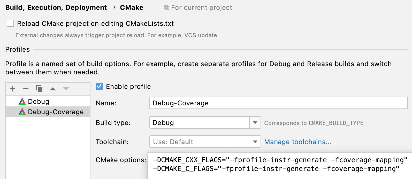Automatically added CMake profile with coverage flags