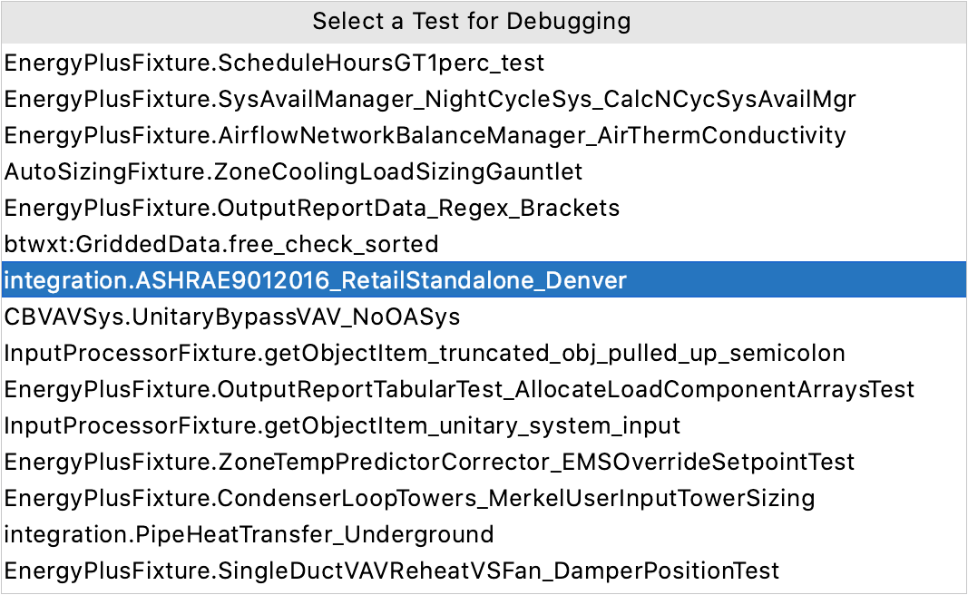 Lists of tests for debugging