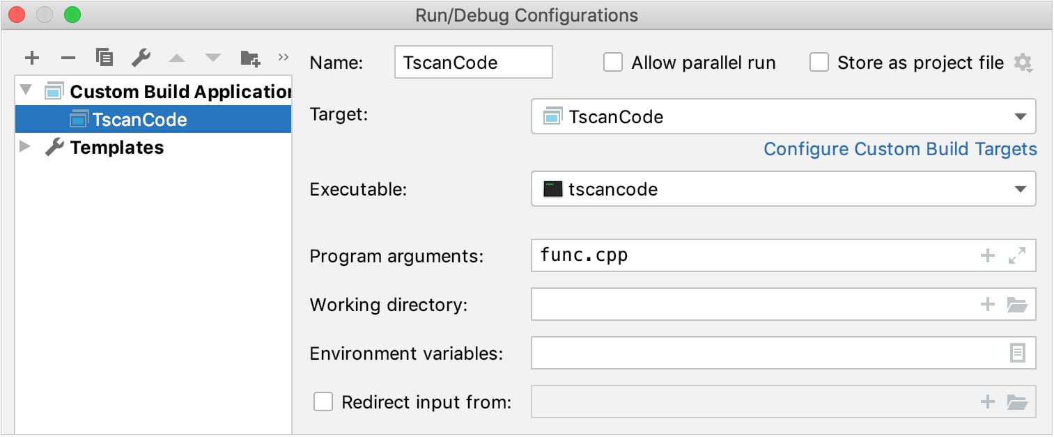 custom run-debug configuration
