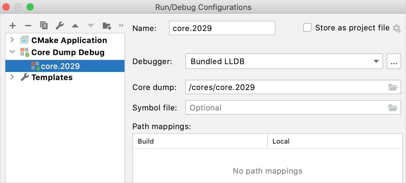 Core Dump Debug configuration