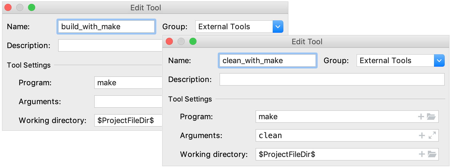 external tools for build and clean