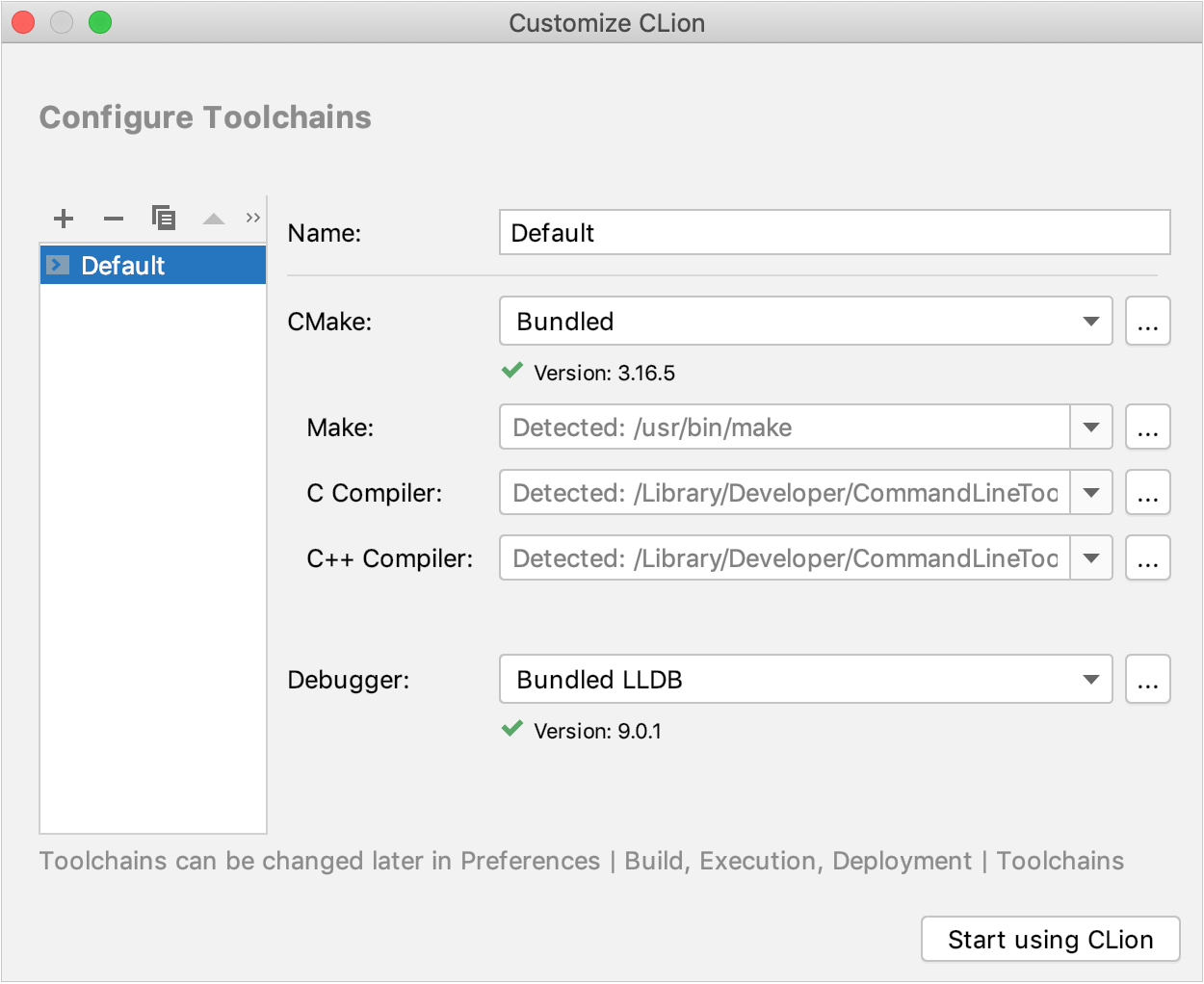 Configure toolchain on the first run