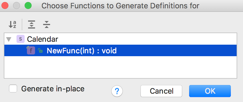 Cl generate definitions dialog