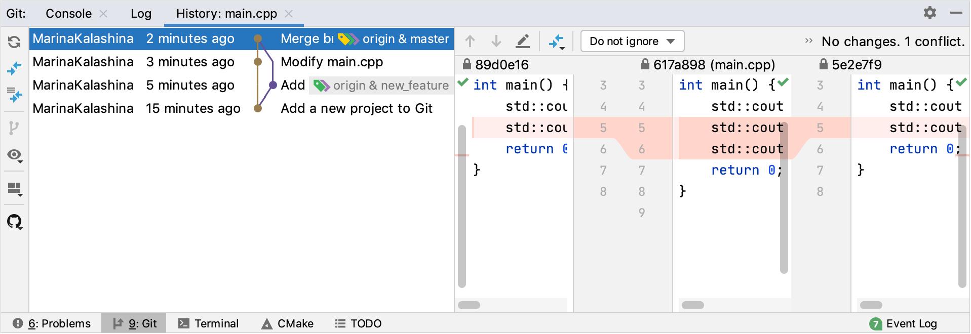 Git file history