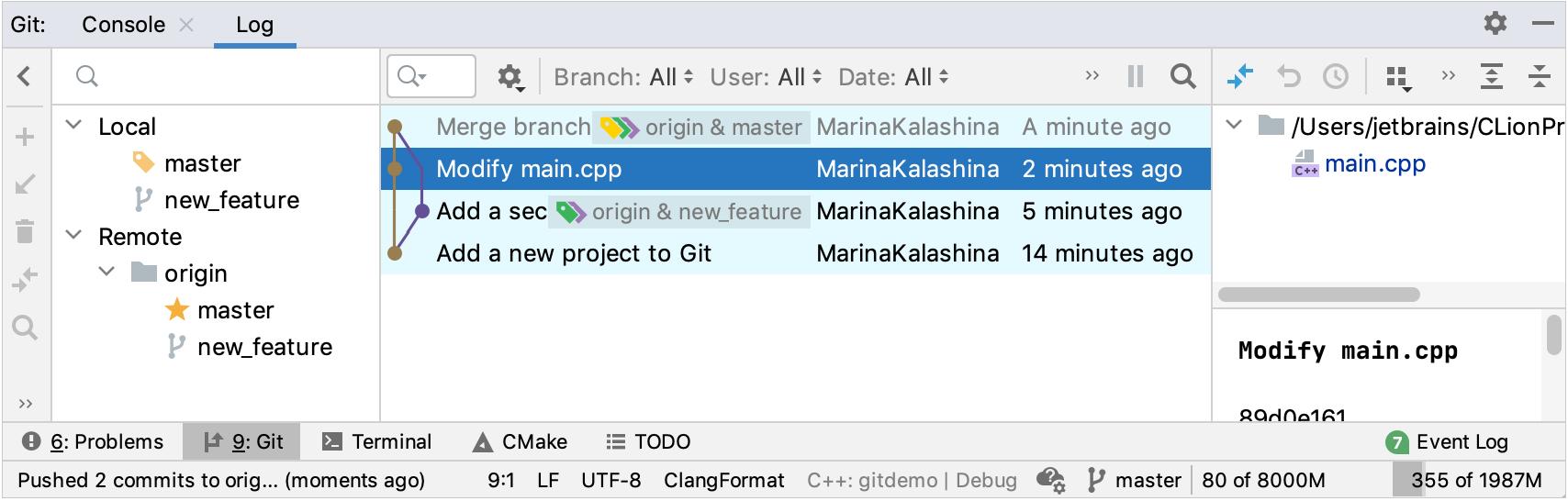 The Git Log tab