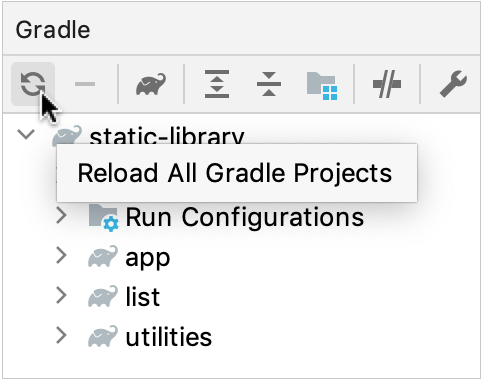 Reload project from the Gradle tool window