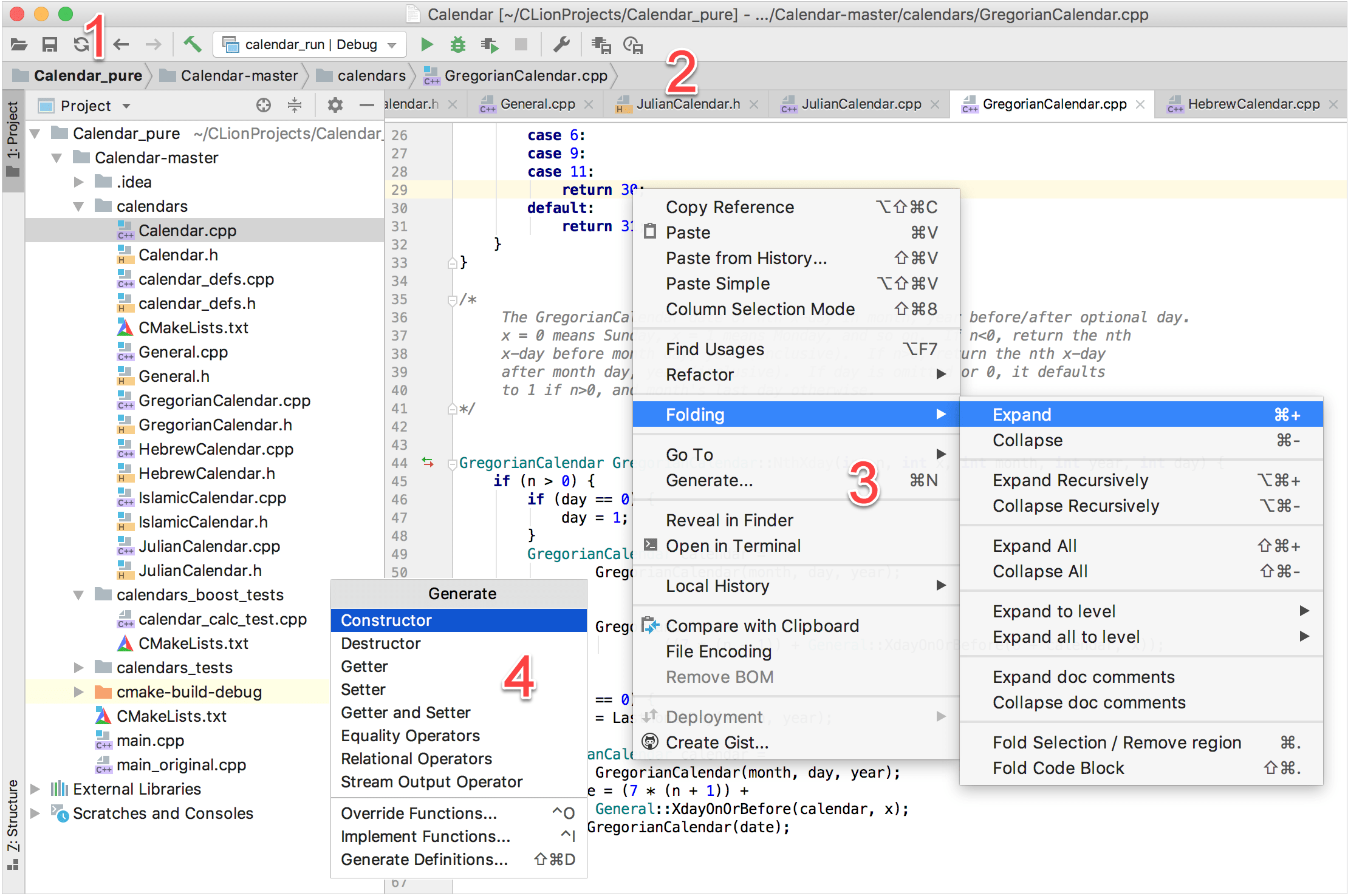 Main elements of the IDE window