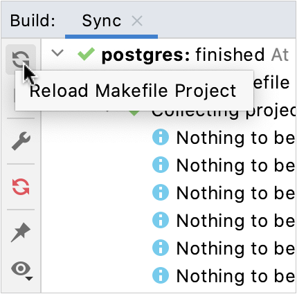 Project reload icon in the Build tool window
