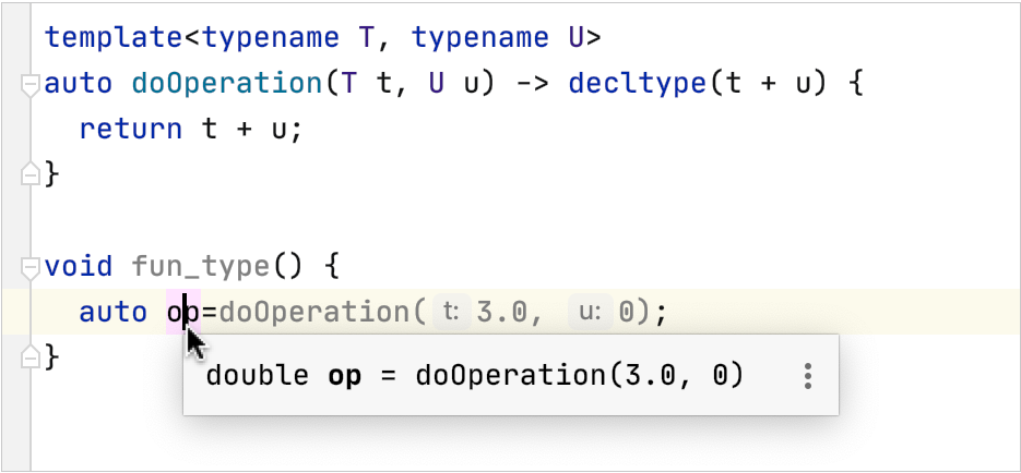 C++ inferred type in Quick Documentation popup