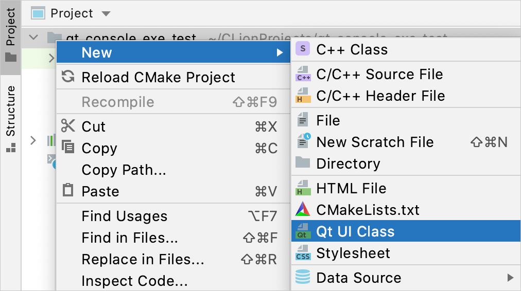 New Qt UI Class menu option