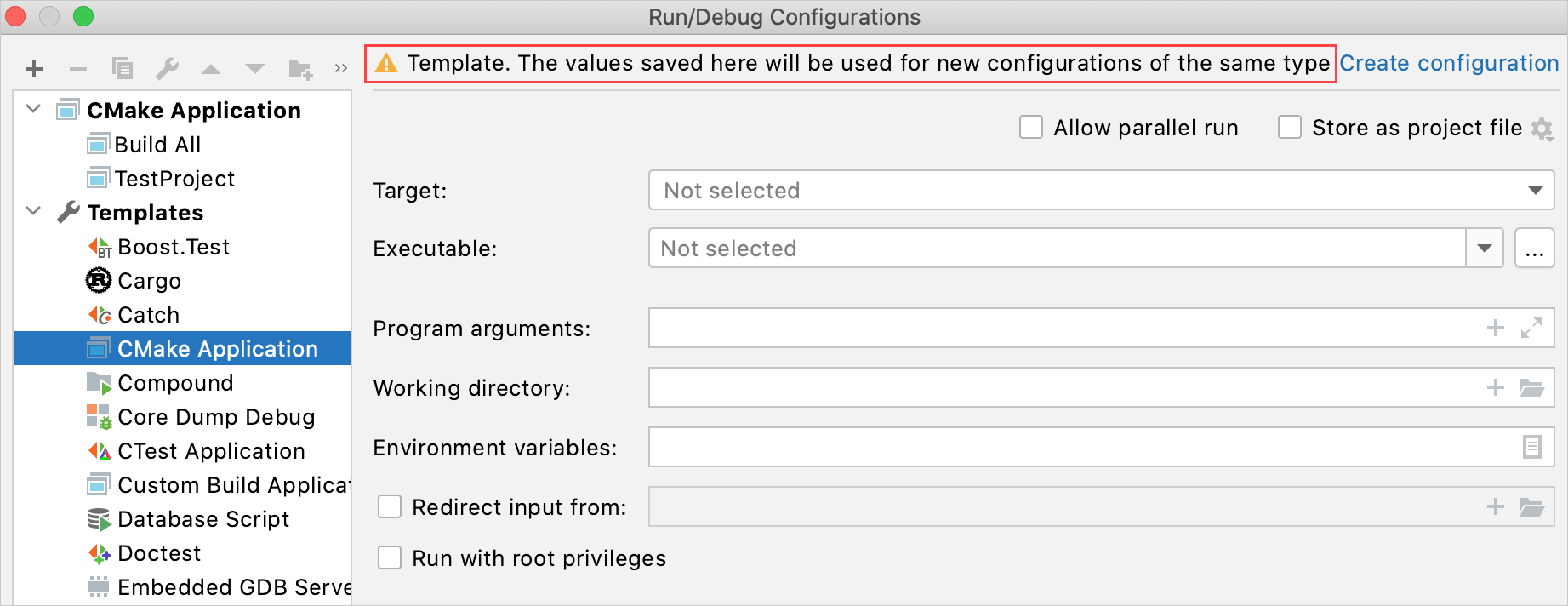 Editing a configuration template