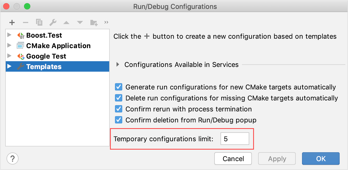 The Temporary configurations limit field