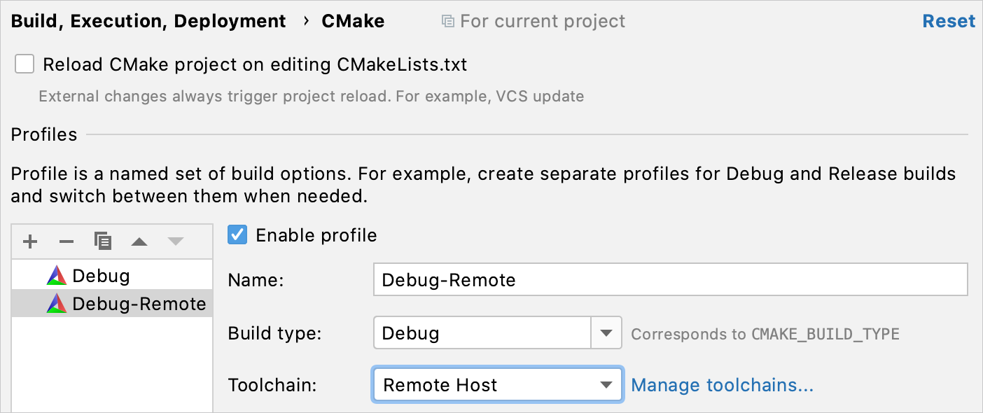 CMake profile for the remote toolchain
