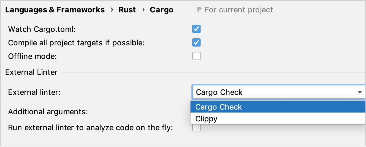 Cargo settings
