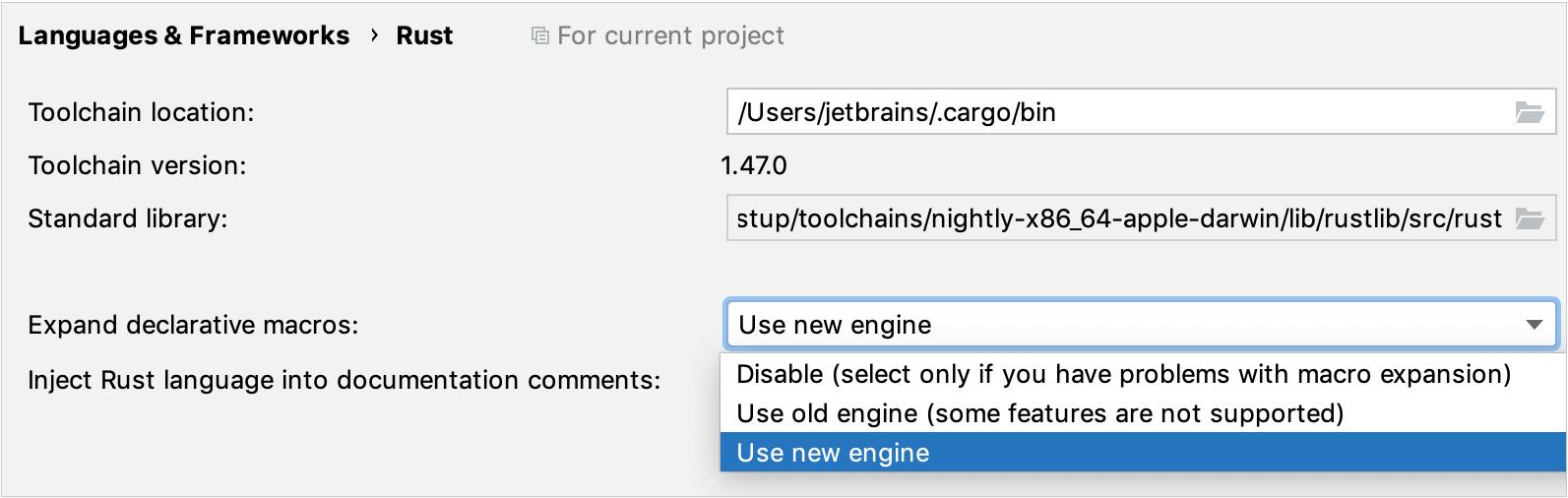 General Rust project settings