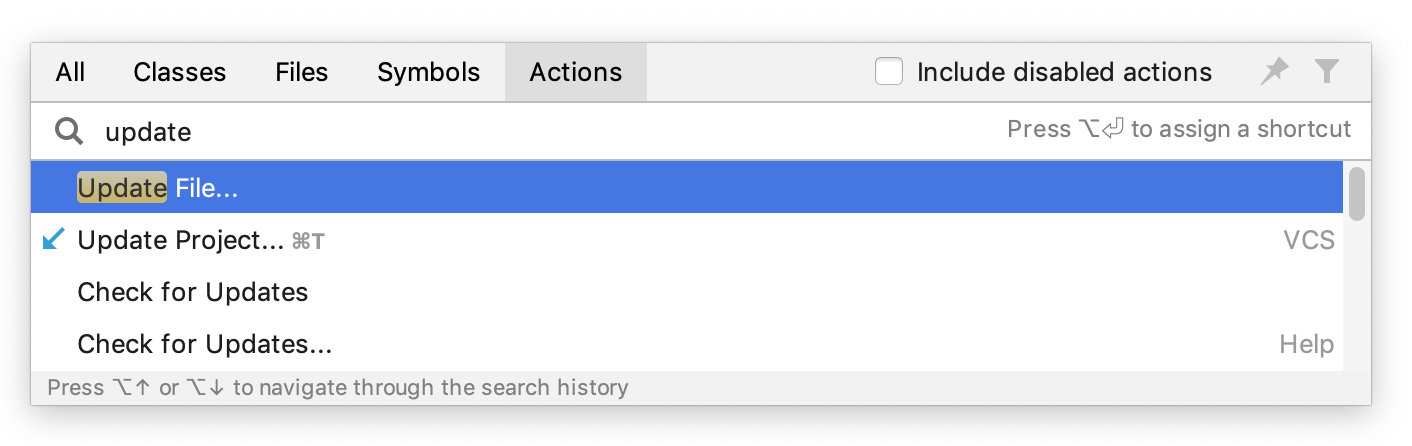 search for an ide action