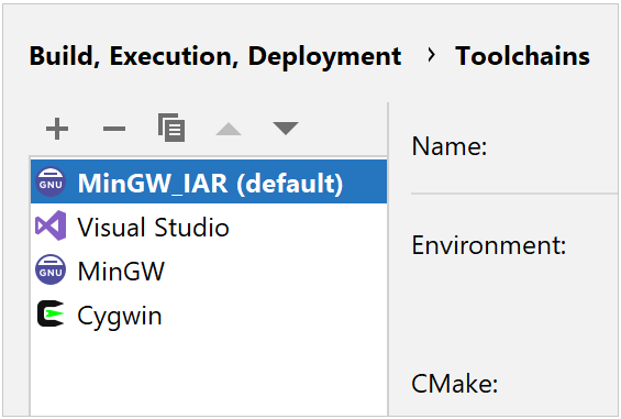 IAR toolchain as default