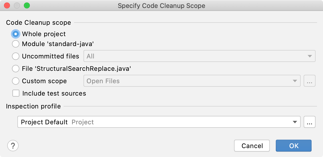 the Specify Code Cleanup Scope dialog