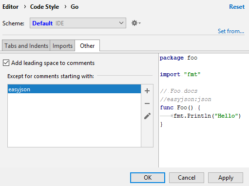 Configure leading spaces for comments in Go