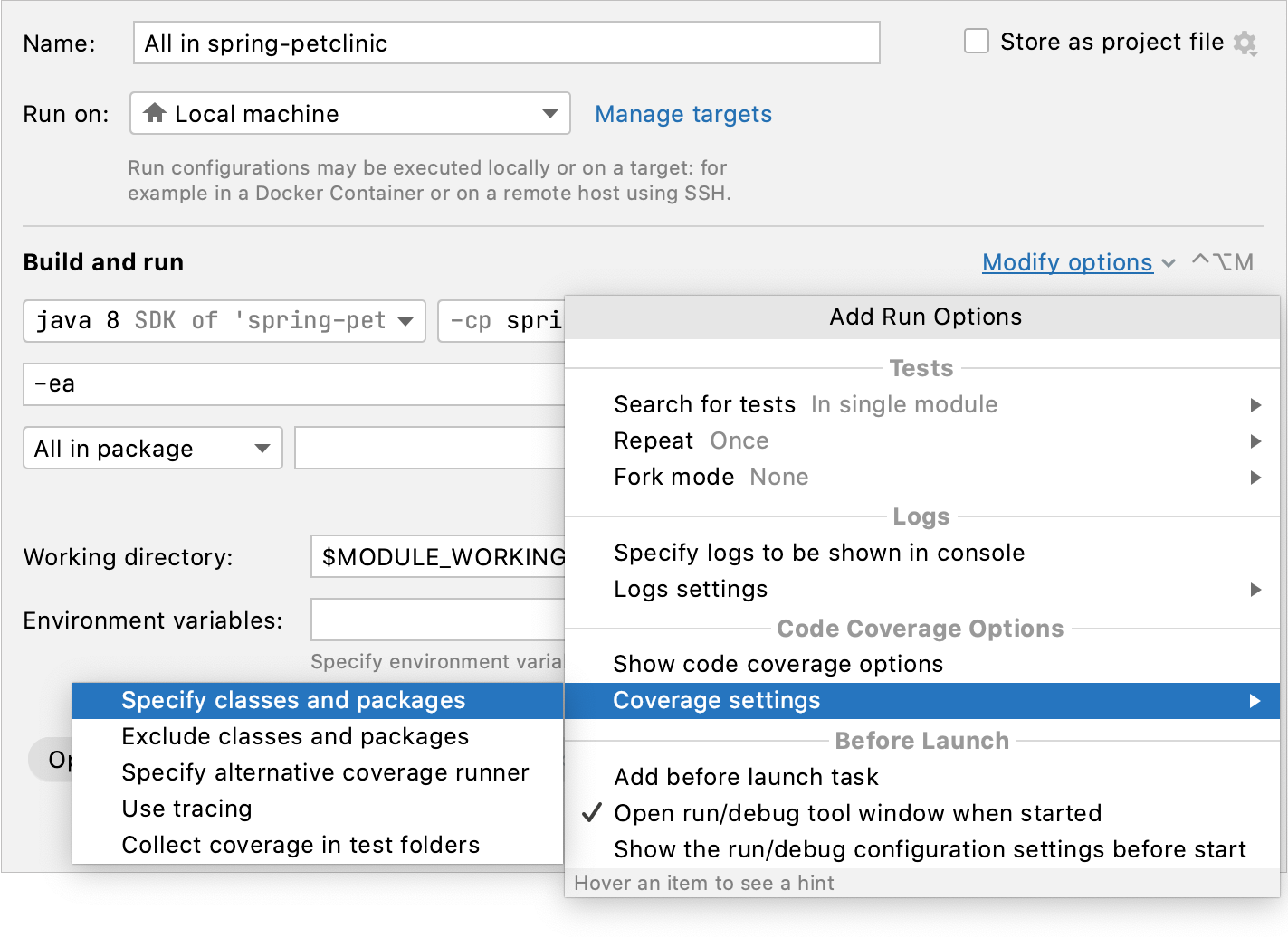 Code Coverage in the Run/debug Configuration dialog