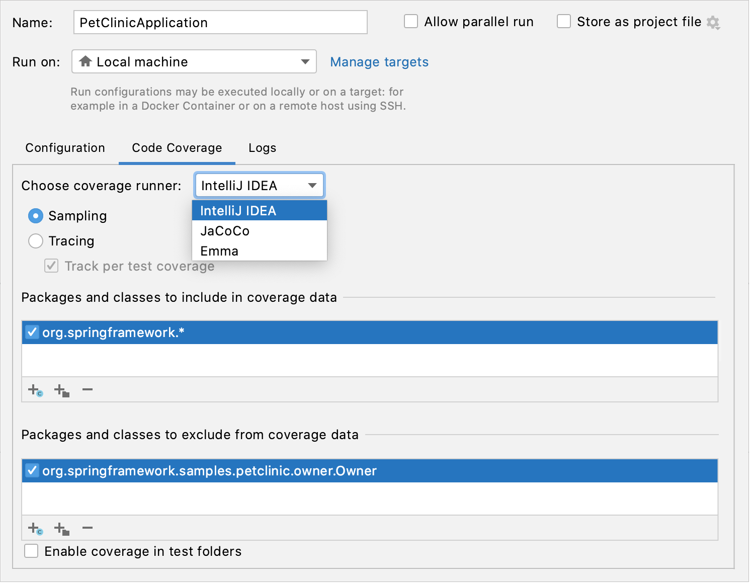 Code Coverage tab in the Run/debug Configuration dialog