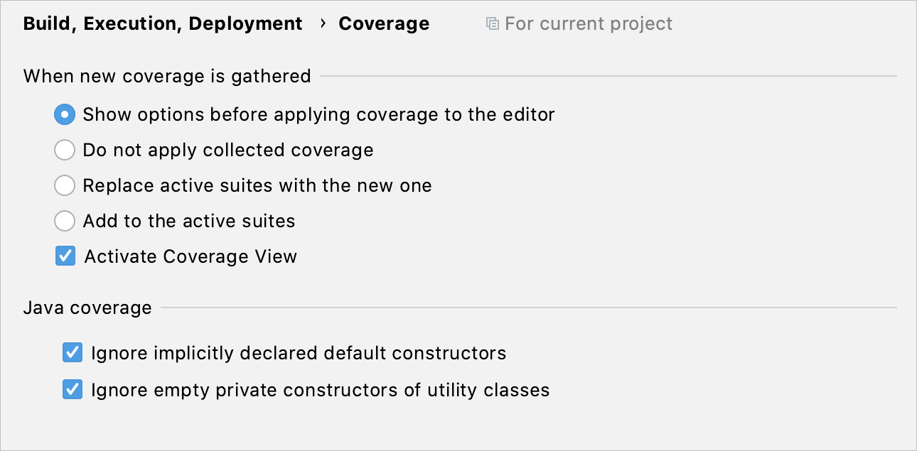 Code Coverage settings page