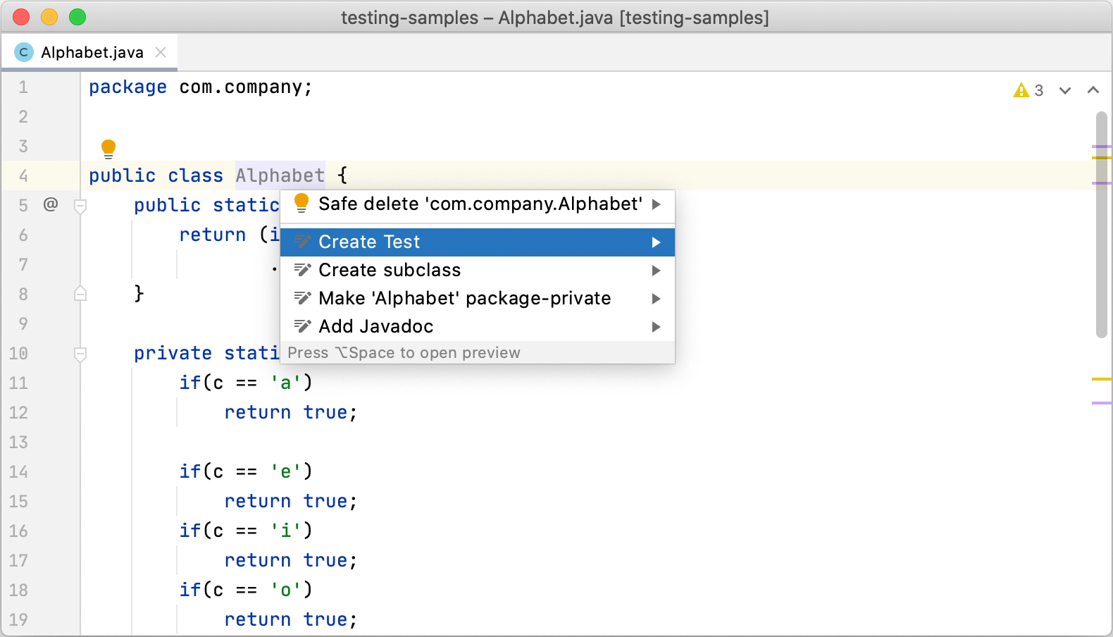 Creating a new test using the Create Test context action