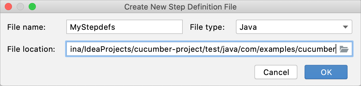 Creating a new file for step definitions