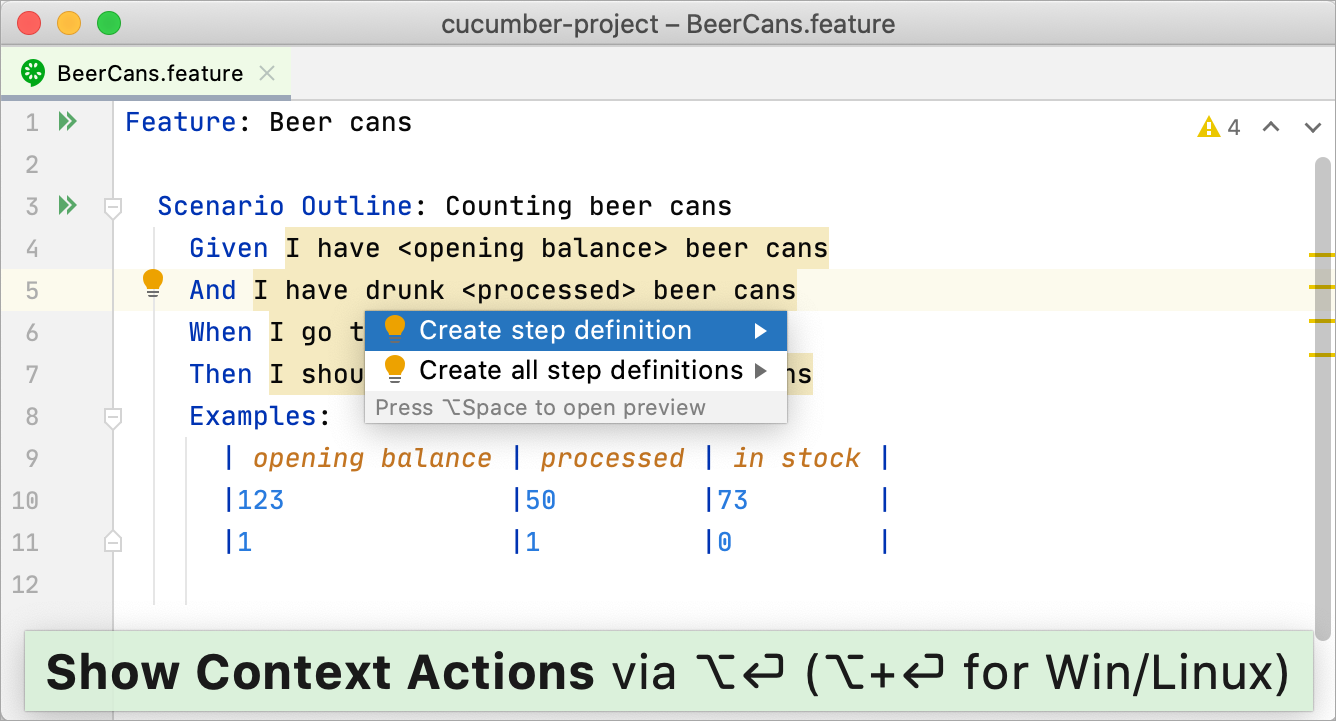 Creating steps definitions from the feature file