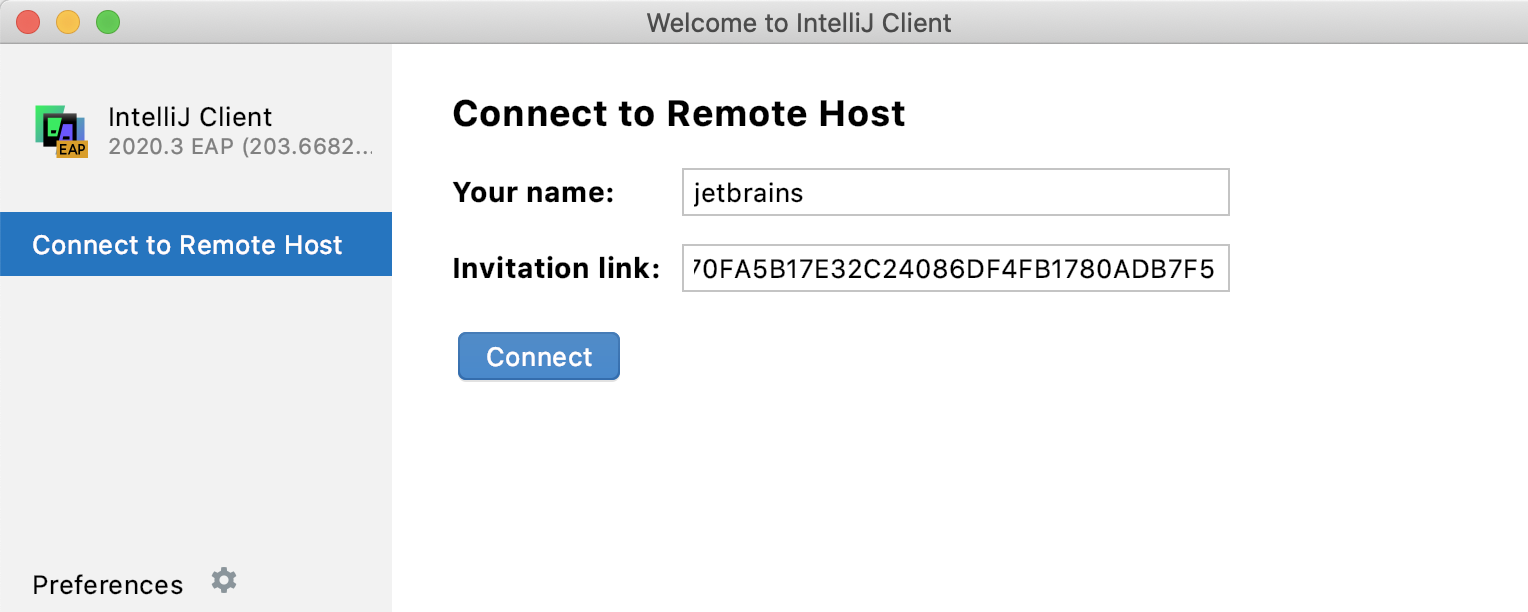 IntelliJ Client welcome screen
