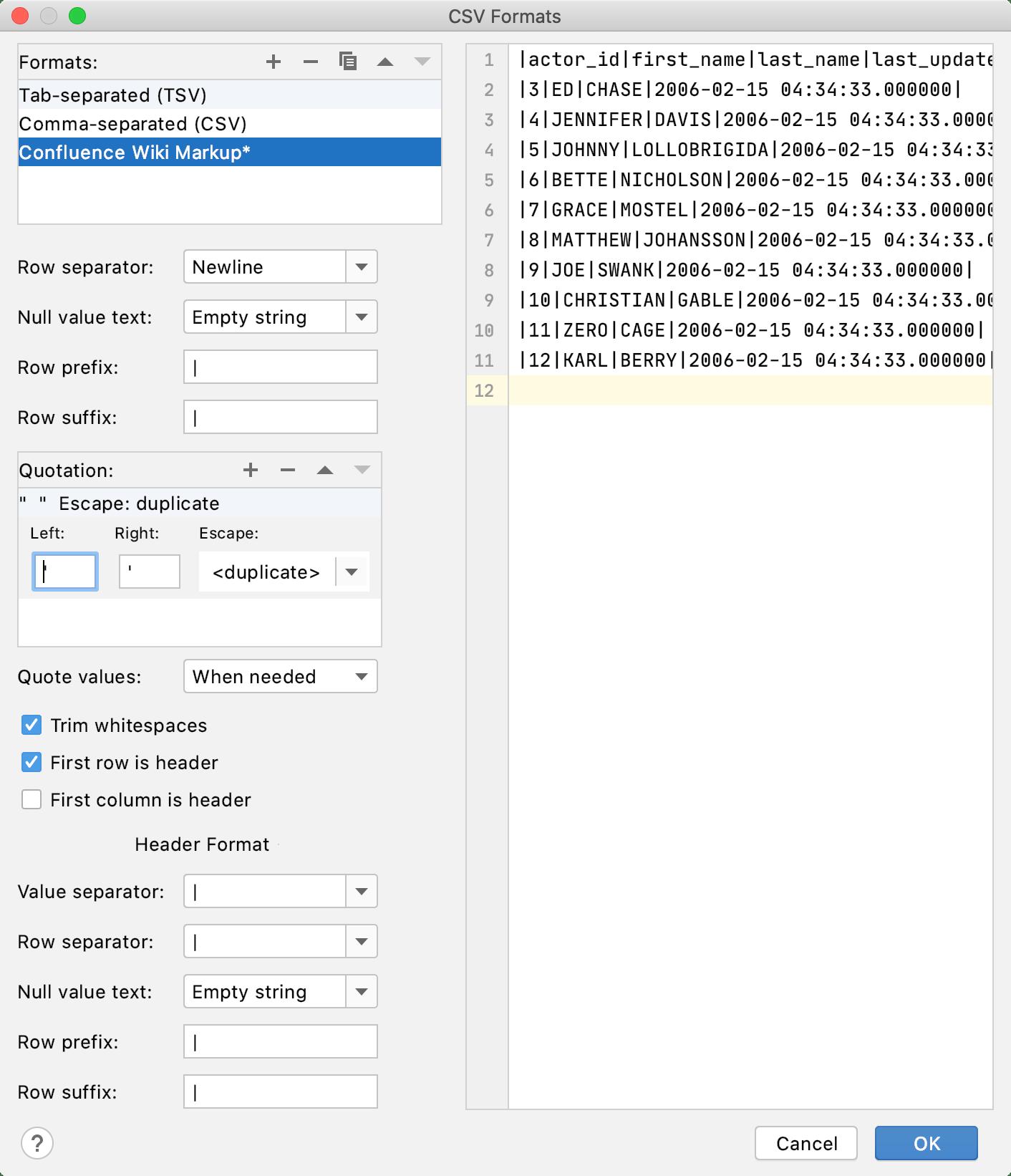 Configuring extractors