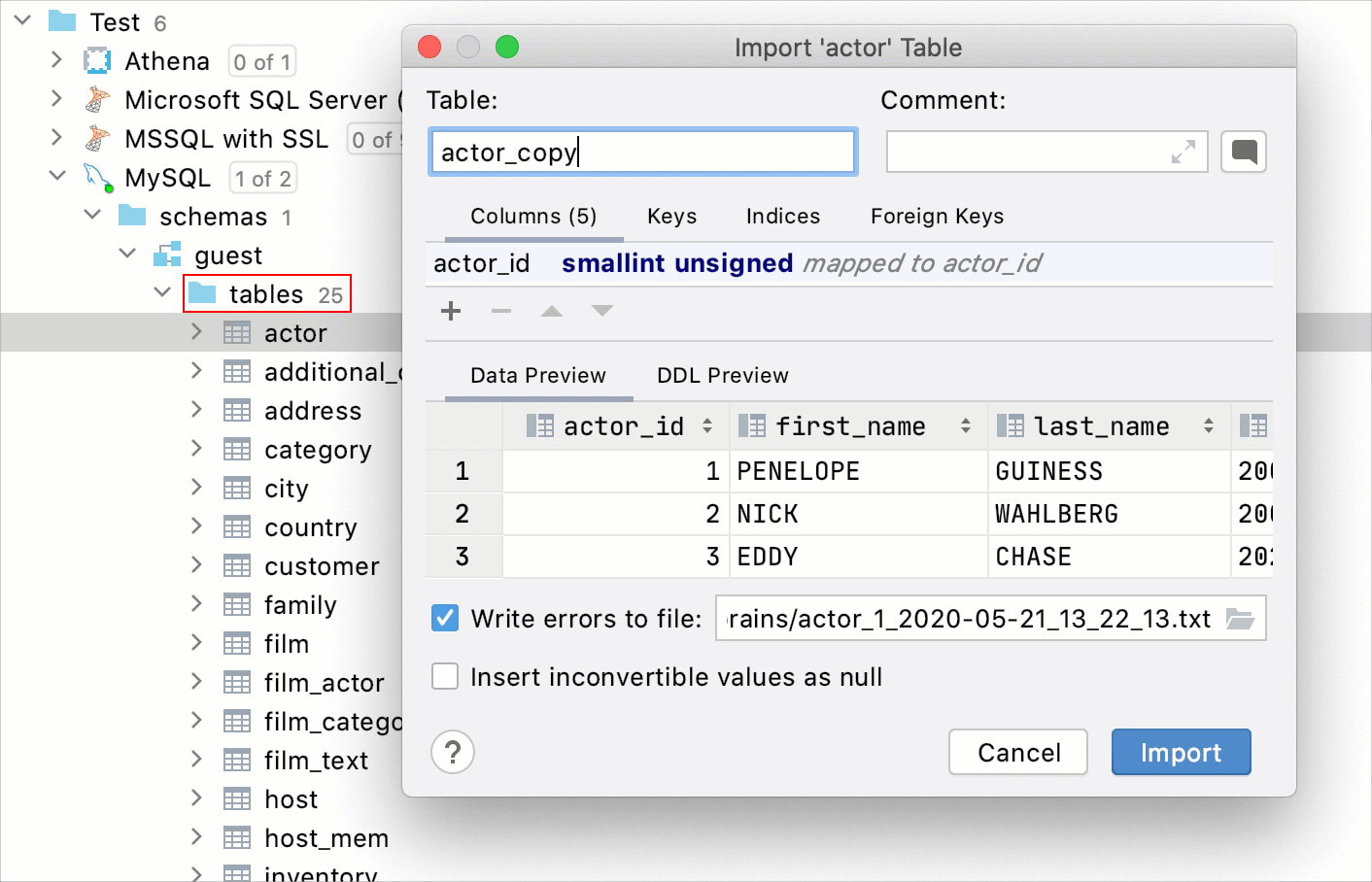 Drag to create a table copy