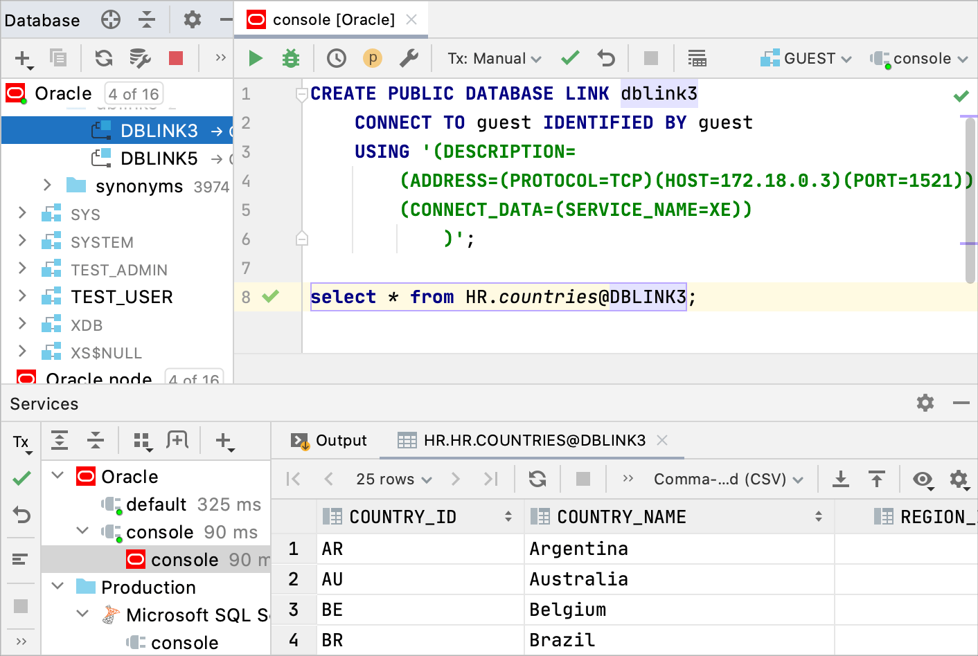 Support of Oracle DB links