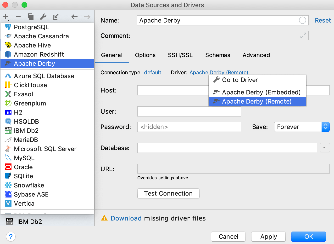 Integration with Apache Derby