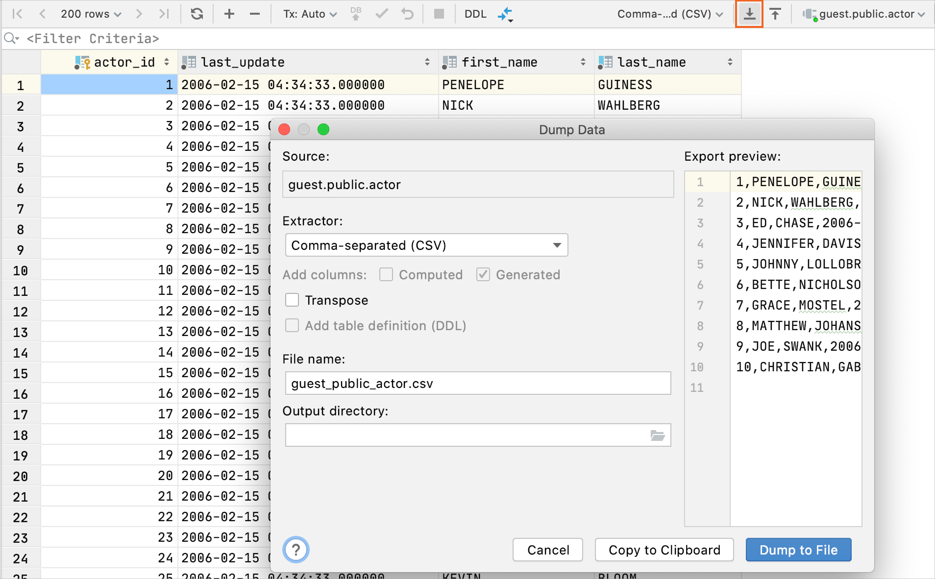 Export data from the editor