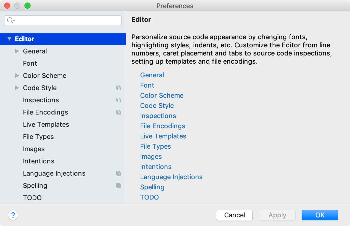 editor settings