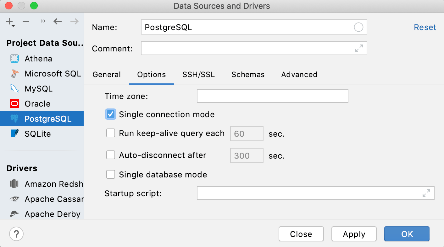 Enable the single connection mode