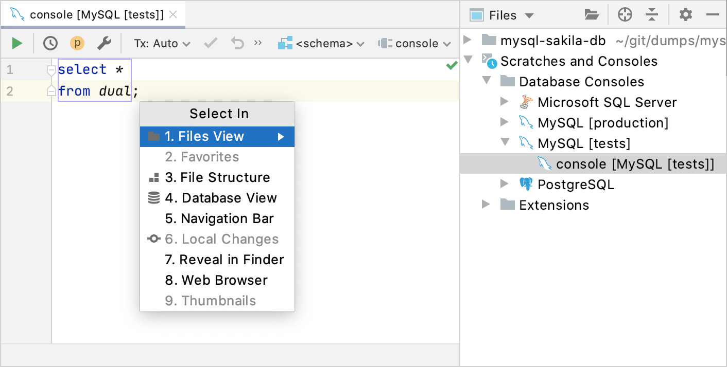 Navigate to a console file from the Select In window
