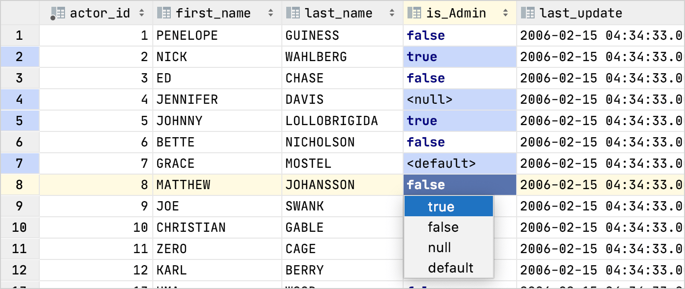 The drop-down list for boolean values