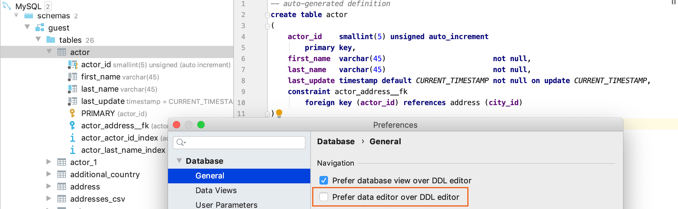 Open a DDL definition of an object in the database tree view